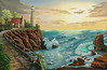 "LIGHTHOUSE<br /> <br /> 48""x 24""<br /> oil on canvas<br /> 2002<br /> <br /> PM"