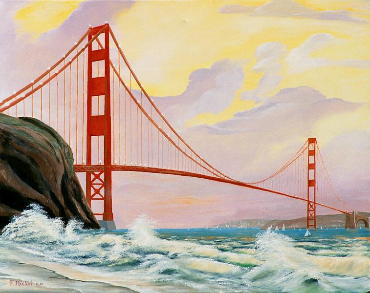 "GOLDENGATE BRIDGE<br /> <br /> San Francisco, California<br /> 36""x 24""<br /> oil on canvas<br /> 2001"
