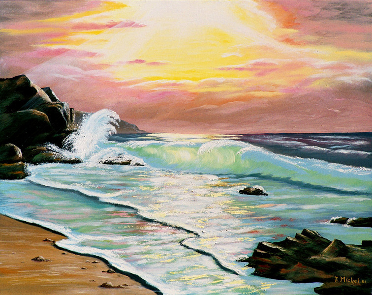 """BEACH AT SUNSET<br /> <br /> 24""""x 20""""<br /> oil on canvas<br /> 2001"""