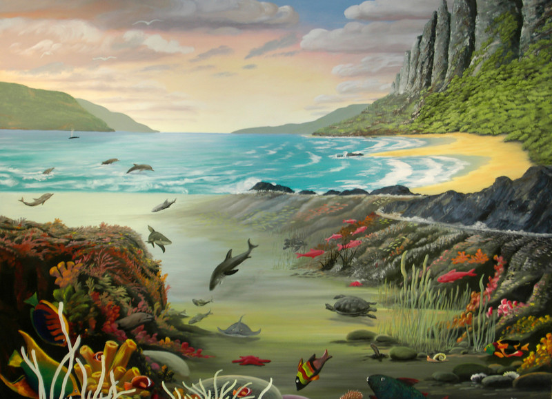 """HAWAII SEA LIFE<br /> <br /> Hawaii, USA<br /> 48""""x 36""""<br /> oil on canvas<br /> 2002<br /> <br /> sold to Alicia in TX"""