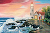 "LIGHTHOUSE WITH RED SUNSET<br /> <br /> 26""x 18""<br /> oil on canvas<br /> 2001"