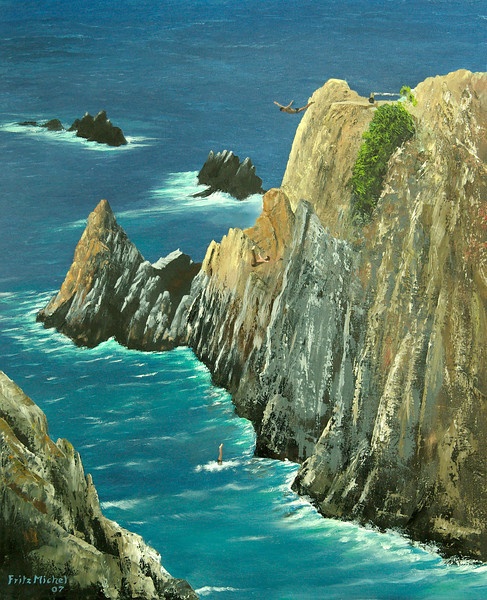 "ACAPULCO CLIFF DIVERS<br /> <br /> Acapulco, Mexico<br /> 24""x 30""<br /> oil on canvas<br /> 2007"