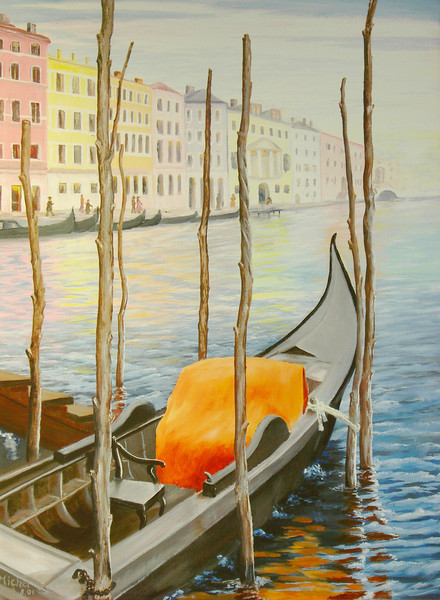 """COLORS OF VENICE<br /> <br /> Venice, Italy<br /> 20""""x 30""""<br /> oil on canvas<br /> 2001<br /> <br /> PM"""