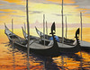 "GONDOLAS IN ORANGE SUNSET<br /> <br /> Venice, Italy<br /> 30""x 20""<br /> oil on canvas<br /> 2001<br /> <br /> JM"