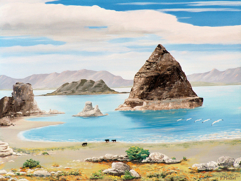 """PYRAMID AND PELICAN ISLANDS<br /> <br /> Pyramid Lake, Nevada<br /> 24""""x 18""""<br /> oil on canvas<br /> 2006"""