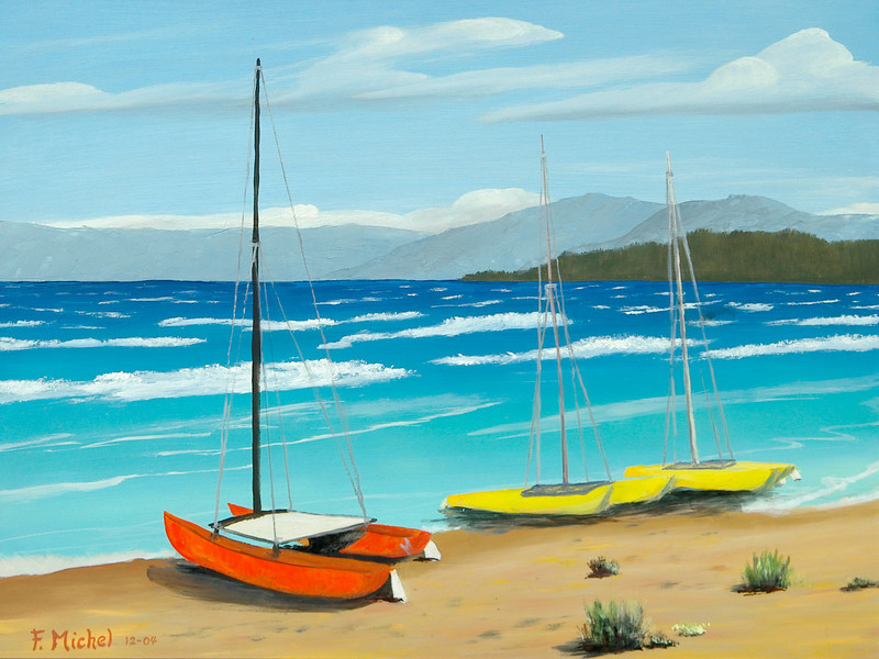 """CATAMARANS AT LAKE TAHOE<br /> <br /> Lake Tahoe, Nevada<br /> 24""""x 18""""<br /> oil on canvas<br /> 2004"""