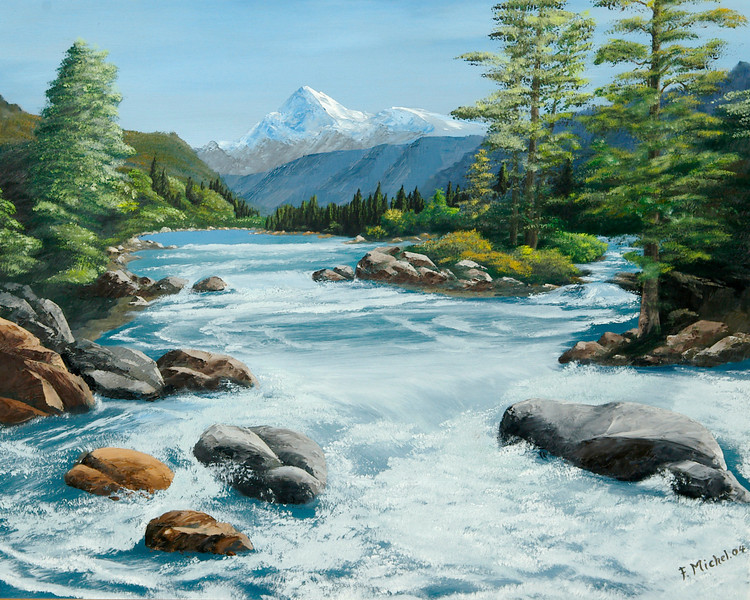 "TRUCKEE RIVER<br /> <br /> Truckee, California<br /> 28""x 24""<br /> oil on canvas<br /> 2004"