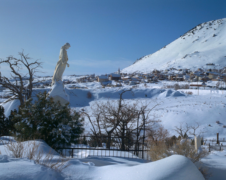 Angel statue looking over Virginia City