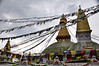 Evening storm and prayer flags at Boudhnath Stupa. Kathmandu, Nepal.