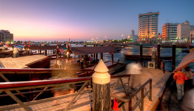 Abra Station (water taxi) on the Creek. Dubai, United Arab Emirates.