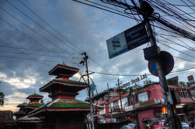 Temples and tangled cables everywhere, Kathmandu, Nepal.