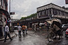 Rickshaws and rain in Thamel. Kathmandu, Nepal