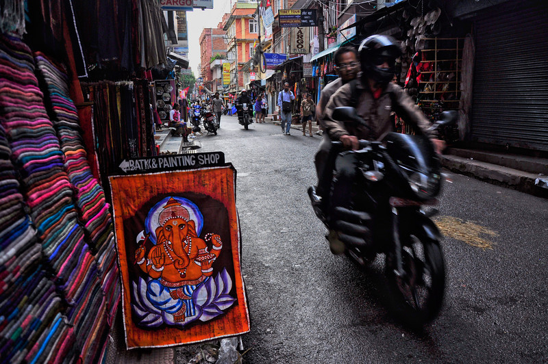 Ganesh, remover of obstacles, clearing the way for bikes. Kathmandu, Nepal.