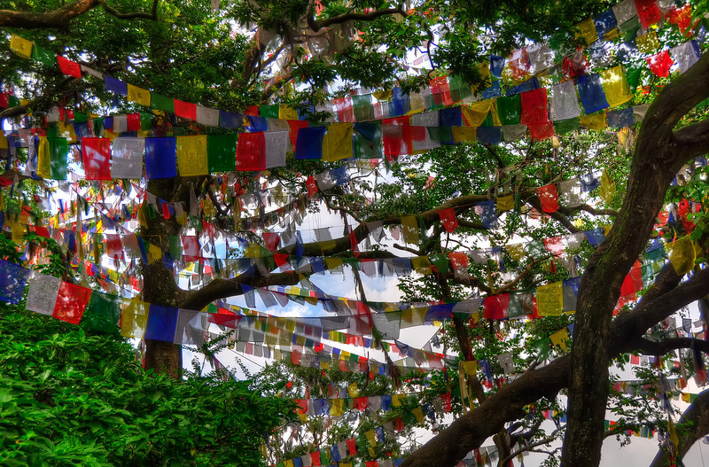 Swayambhunath (Monkey Temple) prayer flags. Kathmandu, Nepal.