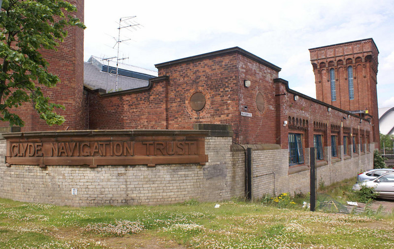 The Four Winds Building, formerly the Princes Dock Hydraulic Pumping Station looking along the Mavisbank Road elevation.