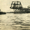 The British Steel Harbour bridge being towed into position at the mouth of the canting basin