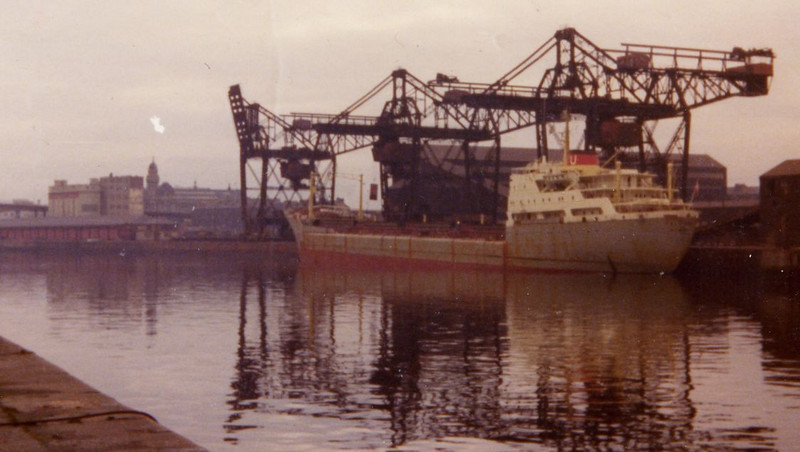 Falcondale discharging iron ore at General Terminus Quay in 1973 - the dockside sheds of Springfield Quay and the tall grey structure of the Riverside Mills on the left of the picture.