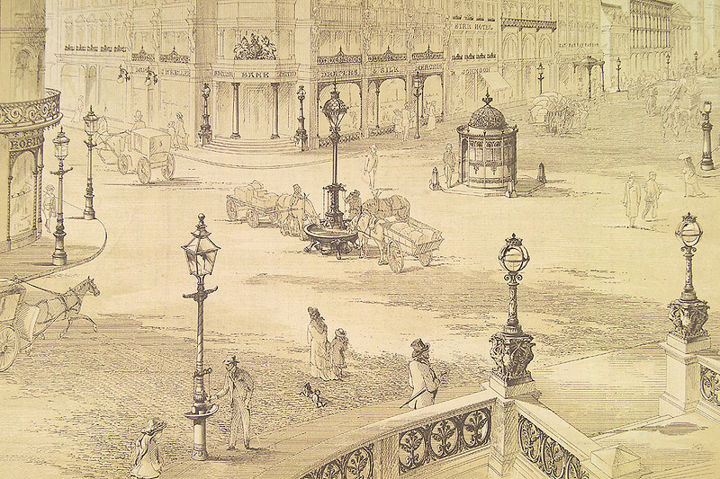"""This is a picture of an imaginary place festooned with the decorative cast iron structures produced in their thousands at Walter MacFarlane's Saracen Foundry. It is from an old trade catalogue produced by the firm and distributed around the world. <br /> <br /> Walter MacFarlane was born in 1817 in the village of Torrance at the foot of the Campsie Fells a few miles north of Glasgow. After a basic education he entered the employment of jeweler William Russell in Glasgow, marrying Russell's daughter in 1848. After apprenticeships in two foundries in 1850 he entered into partnership with his brother-in-law, Thomas Russell and James Marshall. They took over an old brass foundry in Saracen Lane off the city's Gallowgate in 1851 - thus the name Saracen Foundry was born. Ten years later they were employing 120 people and in need of larger premises and in 1862 the Saracen foundry moved to Washington Street in the Anderston District, near the River Clyde. However, the firm's growth was so rapid that it outgrew the second Saracen foundry by 1872 when it moved again to a new 'greenfield' site on the northern extremity of Glasgow, having purchased the Possil Estate of Sheriff Allison. Over the next 93 years the third Saracen Foundry grew to over 80 acres, employing over 1400 people. Walter MacFarlane died in 1885 and his remains were interred at the Necropolis in Glasgow. He was succeeded in the business by his nephew, also Walter MacFarlane.  After WWII the business  declined and, in 1965, Walter MacFarlane & Company was taken over by the Glynwed Group - the huge Saracen Foundry was closed in 1967. Forty years later many examples of the Saracen Foundry's products can be found worldwide. The business name Walter MacFarlane & Co and the company's extensive portfolio of designs was purchased by Glasgow-based Heritage Engineering in 1993. <br /> <br /> A fuller history of Walter MacFarlane & Co can be studied at<br /> <br /> <a href=""""http://www.scottishironwork.org/waltermac.htm"""""""
