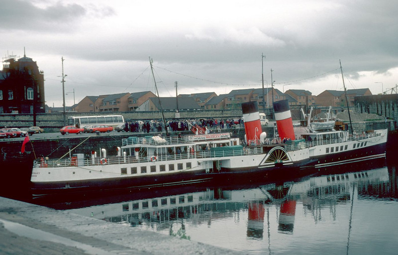 Probably the last passenger sailing from the Princes Dock occured in 1983 when the paddle steamer Waverley sailed from Berth No 29 with the annual Govan Shipbuilders charter. By this time the large 130-ton steam crane had been scrapped although its stone base survived it by a number of years and it can be seen above the steamer's bow
