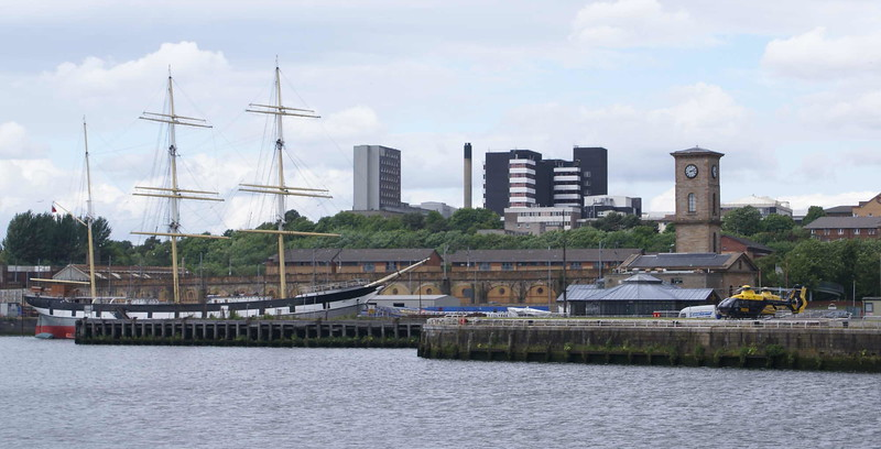 """View from the western extremity of Plantation Quay to the sailing vessel Glenlee berthed at Yorkhill Quay.<br /> <br /> <a href=""""http://www.clydesite.co.uk/clydebuilt/viewship.asp?id=14799"""">http://www.clydesite.co.uk/clydebuilt/viewship.asp?id=14799</a>"""