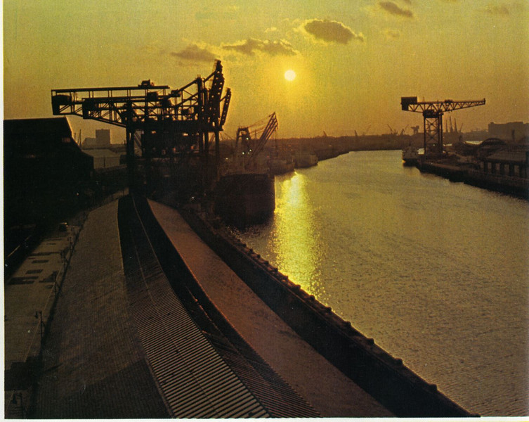 Evening view looking west along Springfield Quay towards General Terminus, Mavisbank and Plantation Quays before the clearance of harbour facilities began ca 1978