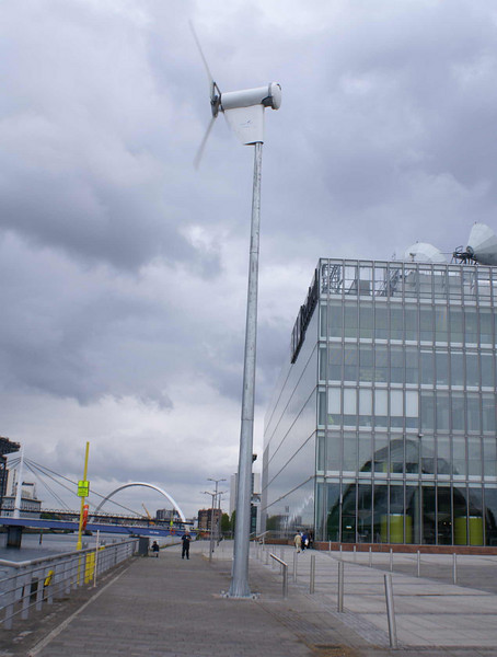 In 2008 a 6kW wind turbine was located on the former Plantation Quay adjacent to the south end of the Millennium Bridge. The machine was supplied by Shetland Wind Turbines - the project cost was £22,000. The power generated is supplied to the Glasgow Science Centre.