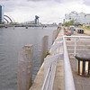 The old harbour of Glasgow in which vessels had berthed two and three abreast on each side of the river is virtually devoid of all shipping. Only this small section of 'Pacific Quay', the former Berth No 83 at Plantation quay is fitted with well maintained fenders as it is the current base of the world's last seagoing paddle steamer. She is the last operational vessel based in the old harbour.