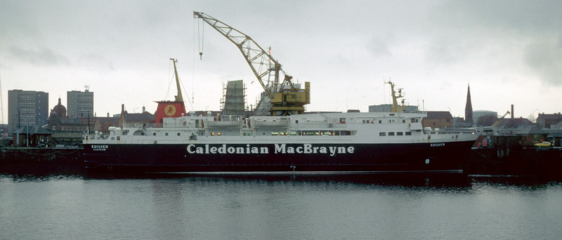 """This view shows the Caledonian MacBrayne ferry Suilven, which served on the Ullapool - Stornoway route from 1974 - 1995, alongside the Berth No 85. This berth was part of the original Plantation Quay but was separated from the upstream part of the Quay when the Princes Dock was created. Thereafter, the berth became associated with the operation of the Govan Graving Docks. However, it continued to be known as No 85 Plantation Quay. Suilven has berthed there after leaving the No 2 Drydock, which she had visited for annual overhaul by ClydeDock Engineering Ltd. <br /> <br /> Suilven was sold to New Zealand interests in 1995 and spent a few years sailing on the Cook Strait services. In 2004 she moved to Suva in the Pacific Ocean from which she provided sailings to Taveuni. A History of the ship can be studied at <br /> <br />  <a href=""""http://www.shipsofcalmac.co.uk/h_suilven.asp"""">http://www.shipsofcalmac.co.uk/h_suilven.asp</a>"""