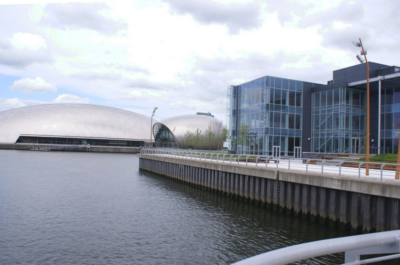 Medius, the IMAX and Glasgow Science Centre viewed from the end of the former south pier of the dock