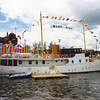 The motor yacht Blue Bird, originally owned by Sir Malcolm Campbell alongside the Canting Basin west wall.