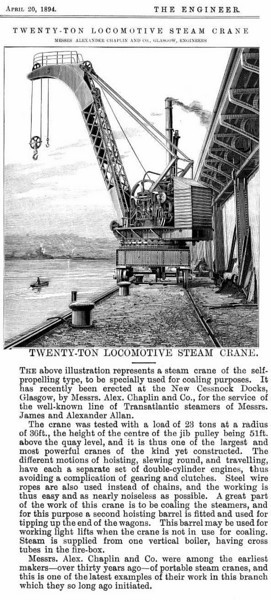 """Apart from the 130 ton steam crane on the west quay wall and a 25-ton coal wagon tipping crane on the south quay a total off 44 dockside cranes of various sizes were provided by the Clyde Navigation Trust. These cranes and the hydraulic power station that provided energy to drive them are described at:<br /> <br /> <a href=""""http://pudzeoch.smugmug.com/gallery/5191499_5SFuX#316957208_2z7j5"""">http://pudzeoch.smugmug.com/gallery/5191499_5SFuX#316957208_2z7j5</a><br /> <br /> Some of the early cranes installed on the quays of the south basin can be seen at this link:<br /> <br /> <a href=""""http://www.mitchelllibrary.org/virtualmitchell/image.php?i=16397&r=2&t=4&x=1"""">http://www.mitchelllibrary.org/virtualmitchell/image.php?i=16397&r=2&t=4&x=1</a><br /> <br /> In addition shipping companies allocated sections of the dock for their exclusive use provided their own dockside cranes. The article above describes a 20 ton steam crane built by Chaplin of Govan for the Allan Line which occupied most of the North Basin of the Prince's Dock"""