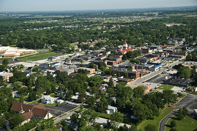 Downtown Crown Point, Indiana with the old Court House just right of center.