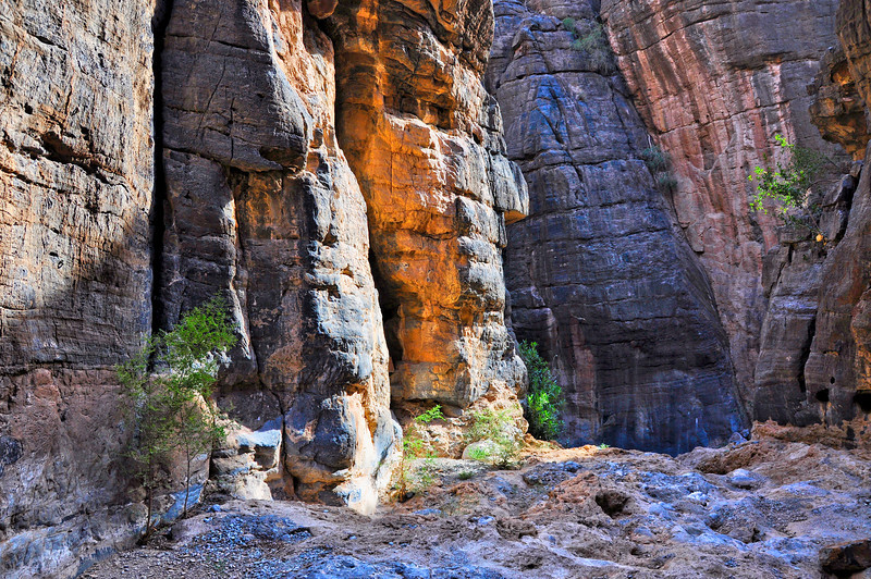 The canyon walkthrough to the mountain village of Bilad Sayt. Wadi Bani Awf, Oman.