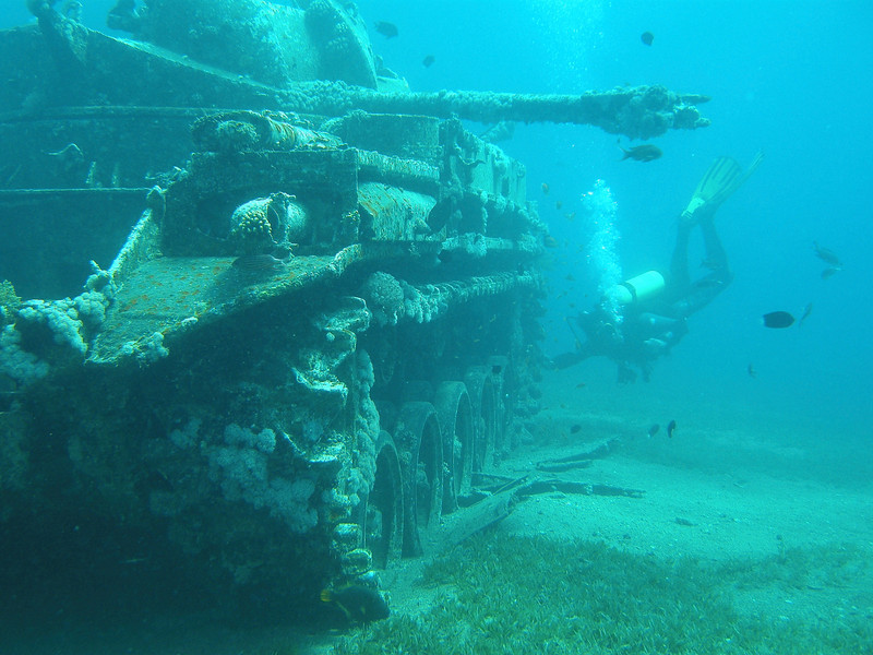 M42 Duster Anti-Aircraft Vehicle, known as The Tank Wreck dive site. Red Sea, Aqaba, Jordan