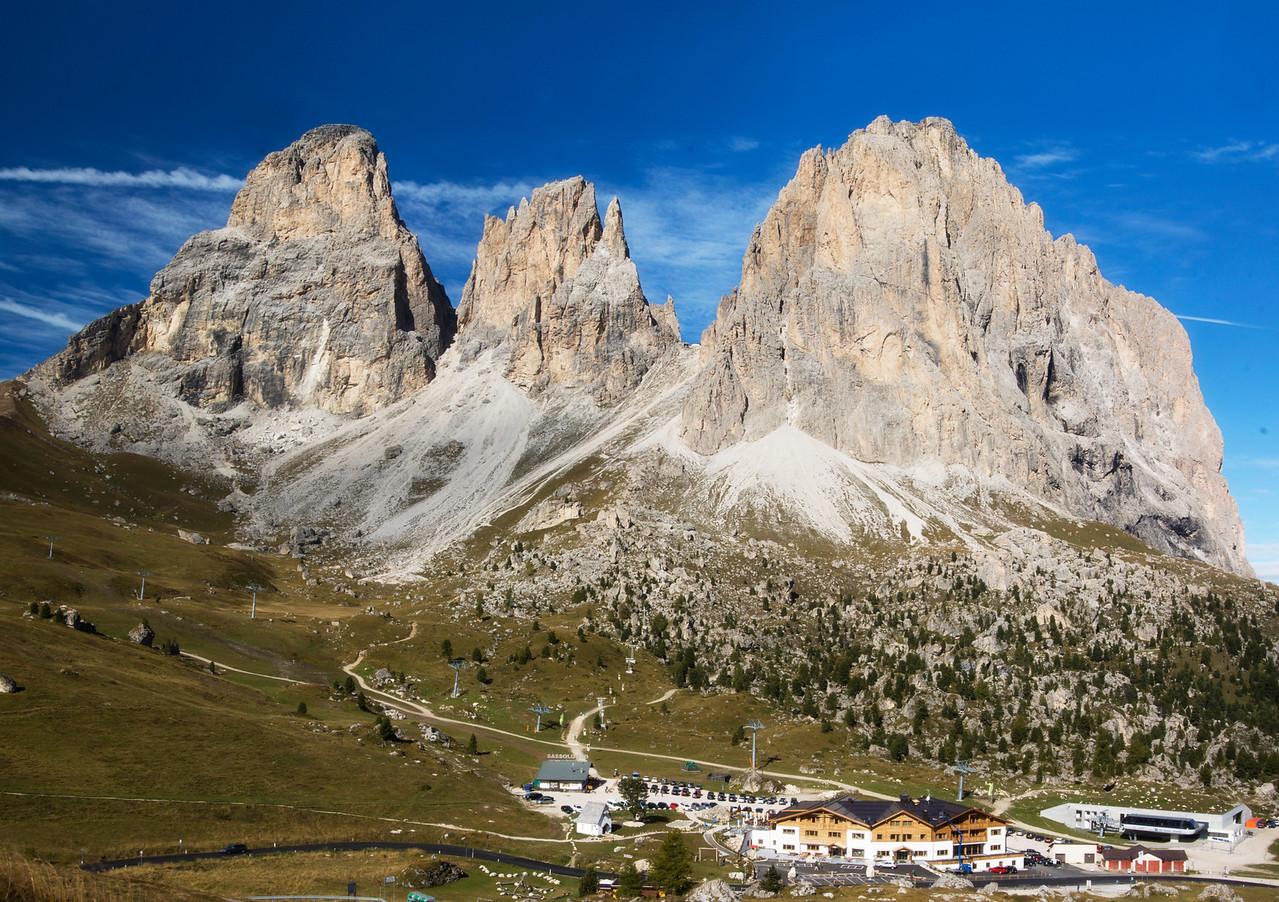 Sassolungo Langkofel from Passo Sella (4 Photo Stitched Panorama)