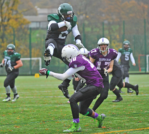 15 November 2015 at Stirling University. BUCS American Football 2015-2016 - Premier North Division  match:<br /> Stirling Clansmen v Durham Saints