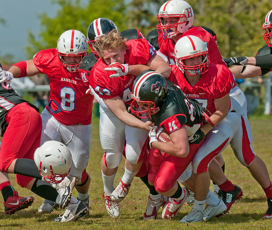 16 May 2015 at Hamilton Rugby Club.<br /> American Football Challenge Match.<br /> East Kilbride Pirates v Hanover Panthers.