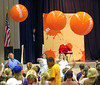 Giant beachballs go flying into the crowd at the start of Nickelodeon's Game Lab at the Civil auditourim. Photo by Ned Jilton II