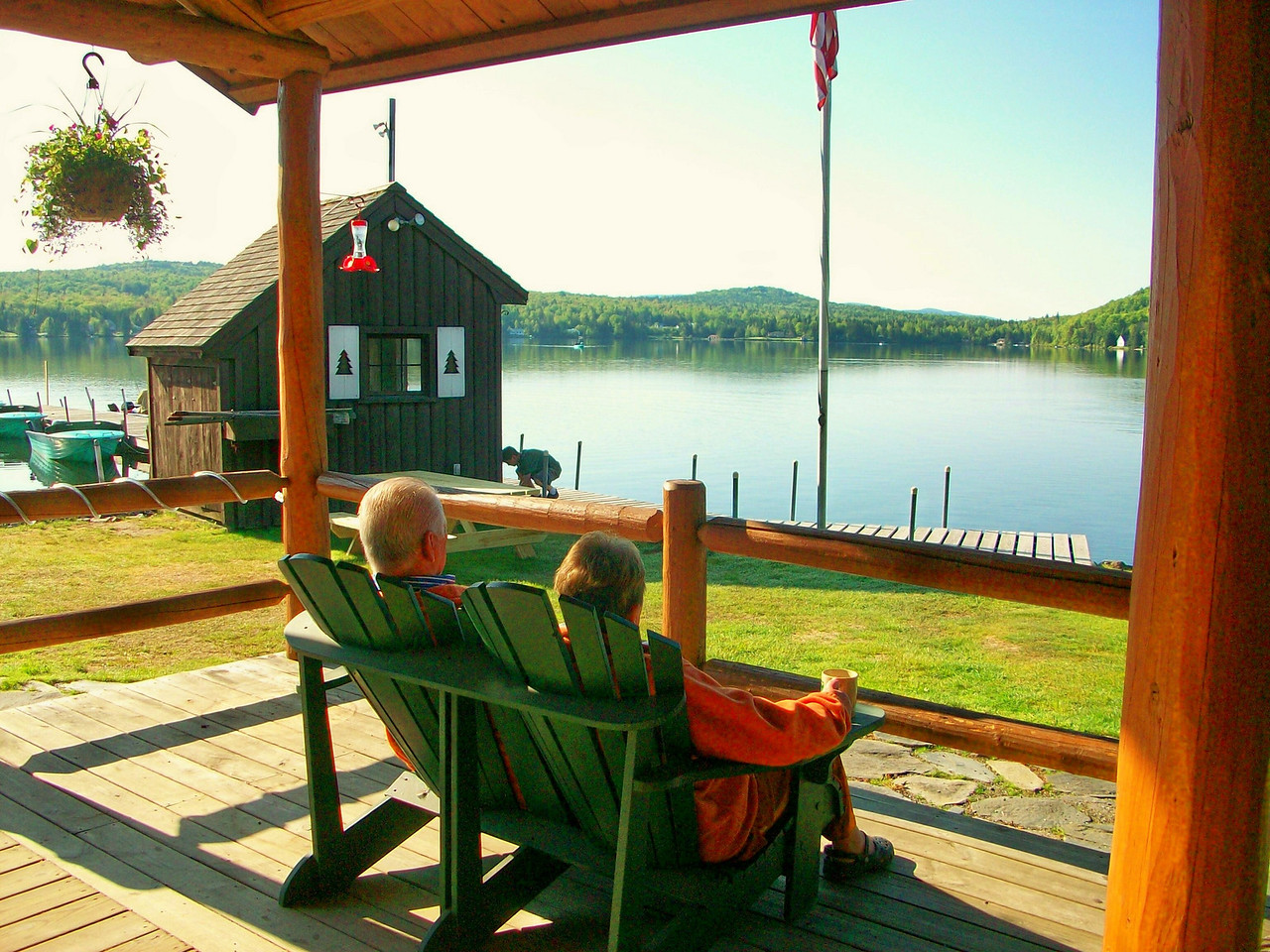 Relaxing lakeside at Tall Timber Lodge.
