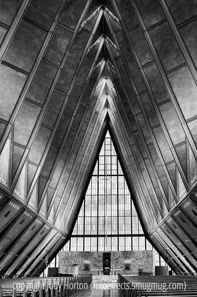The U.S. Air Force Academy Protestant Chapel. I was married here in 1964, a couple of years after the chapel was opened.  It was plagued with leaks and you can still see places that apparently leak today.