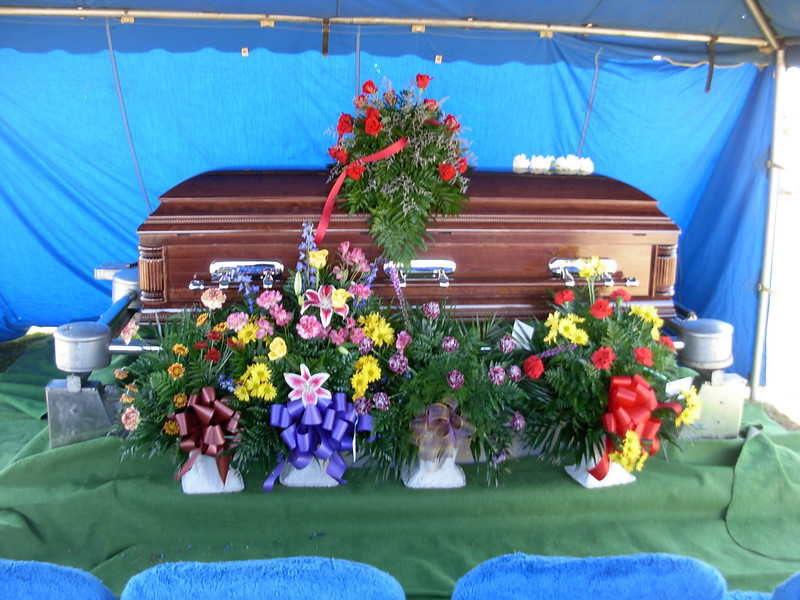 Casket at Carson Cemetery for Tony Johnson Jr.