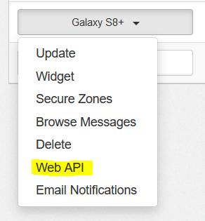 Web API Menu Option