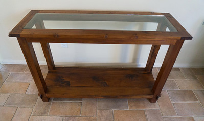 Teak Side Table w/Glass Top W x D x H: 65' x 17.5' x 32'