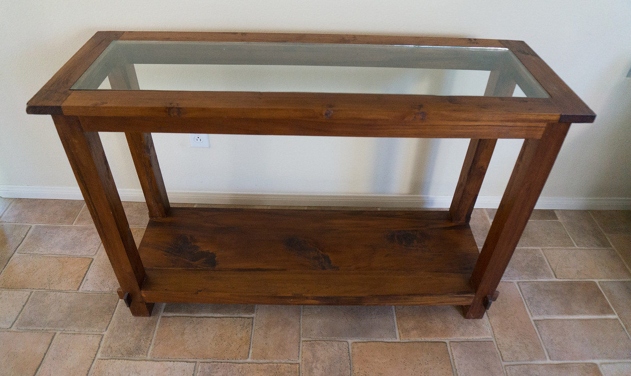 Teak Side Table w/Glass Top