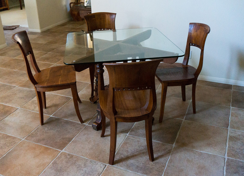 Teak Table w/Glass Top