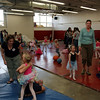 Warming up in the wrestling room before the GAC dance recital.<br /> <br /> Photo by Chris Rourke