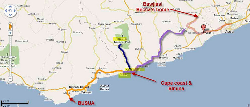 We began our adventure in Accra and drove (orange line) to Becca's house in Bawijasi