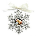 "Gift_K_03, $38.00 Photo measures 7/8"" round, ivory ribbon included. Pewter.  Clear protective coating over photo."