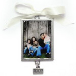 "Gift_K_01, $42.00 Pewter Holiday Ornament. Photo measures 1-1/4"" wide x 1-3/4"" high, and is coated with clear coating to protect the photo."