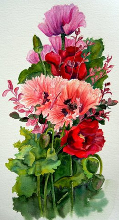 Anne's Flowers #1<br /> watercolour